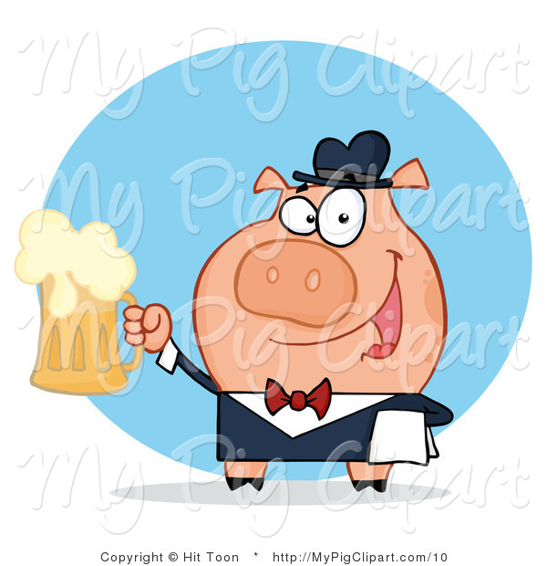 Vector Swine Clipart of a Waiter Pig Serving Beer