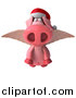 Swine Clipart of a 3d Christmas Winged Pig Flying by Julos