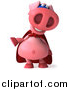 Swine Clipart of a 3d Super Hero Pig Laughing and Gesturing by Julos