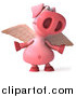 Swine Clipart of a 3d Winged Pig Shrugging by Julos