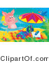 Swine Clipart of a Blue Bird Sitting on an Umbrella, Watching a Pink Pig Swim by Beach Toys and a Towel on the Beach by Alex Bannykh