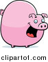 Swine Clipart of a Chubby Pink Pig Smiling by Cory Thoman