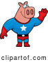 Swine Clipart of a Friendly or Outgoing Super Hero Pig Waving by Cory Thoman