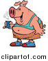 Swine Clipart of a Party Pig Holding Beer by Toonaday