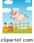 Swine Clipart of a Pig Trying to Fly over a Garden by Graphics RF