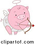 Swine Clipart of a Pink Cupid Pig Shooting Arrows by BNP Design Studio