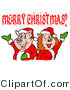 Swine Clipart of a Pink Pig Couple in Santa Suits, Holding Their Arms up Under a Merry Christmas Greeting by LaffToon
