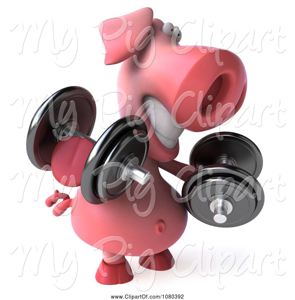 Swine Clipart of 3d Pookie Pig Working out with Dumbbells ...