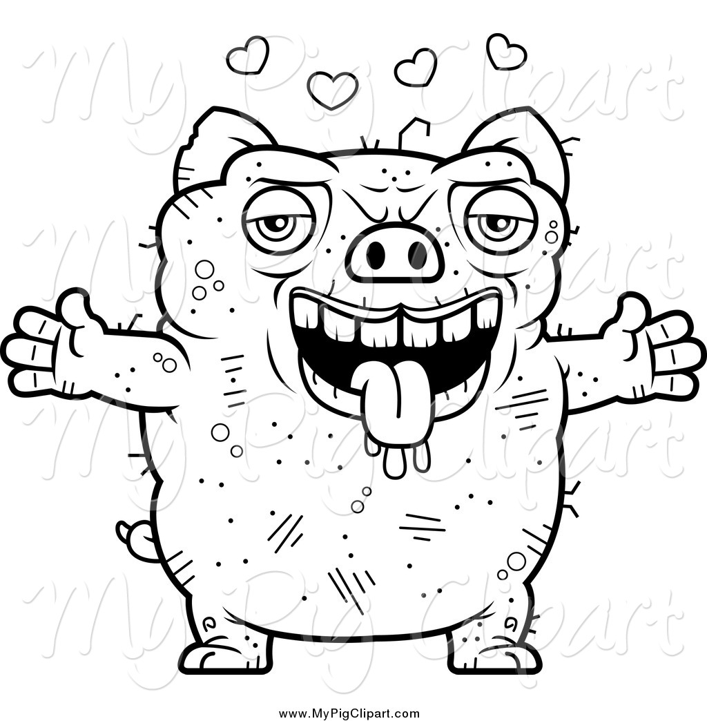 ugliest pet shop coloring pages | Swine Clipart of a Black and White Amorous Ugly Pig by ...