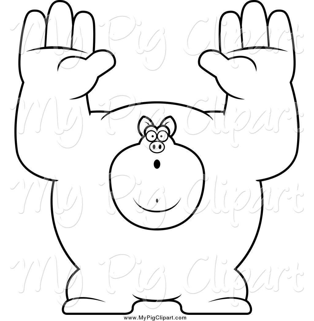 swine clipart of a black and white buff pig giving up by cory thoman