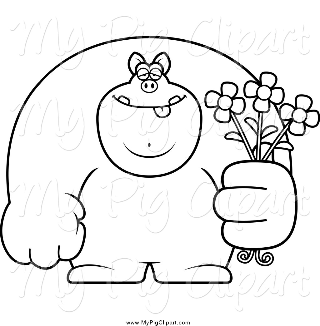 swine clipart of a black and white buff pig holding flowers by cory