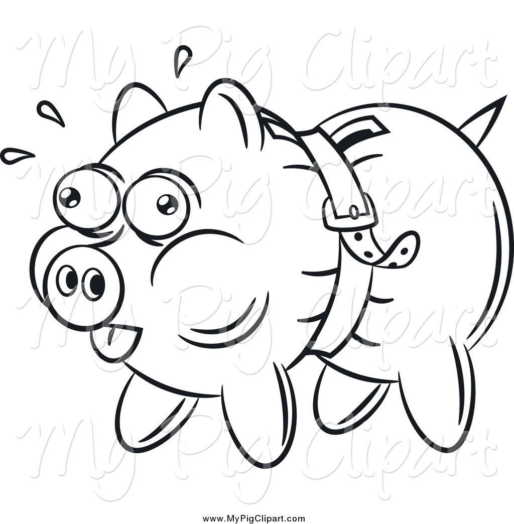 Swine Clipart Of A Black And White Piggy Bank Being Squeezed By A