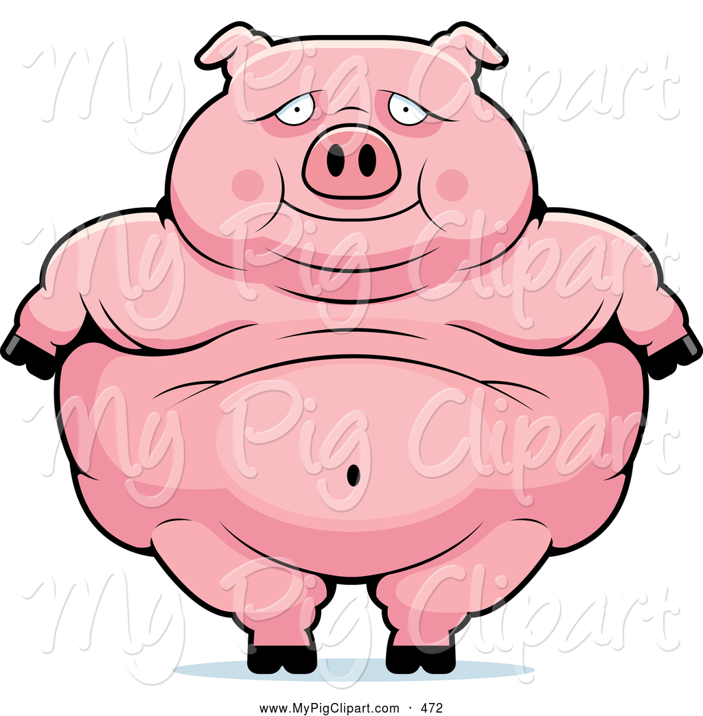 Swine Clipart of a Cute Obese Pig Standing by Cory Thoman - #472