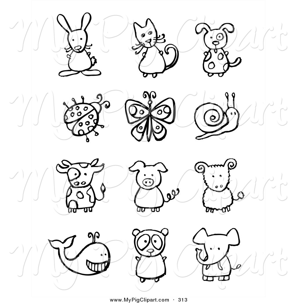Swine Clipart Of A Digital Collage Of Black And White