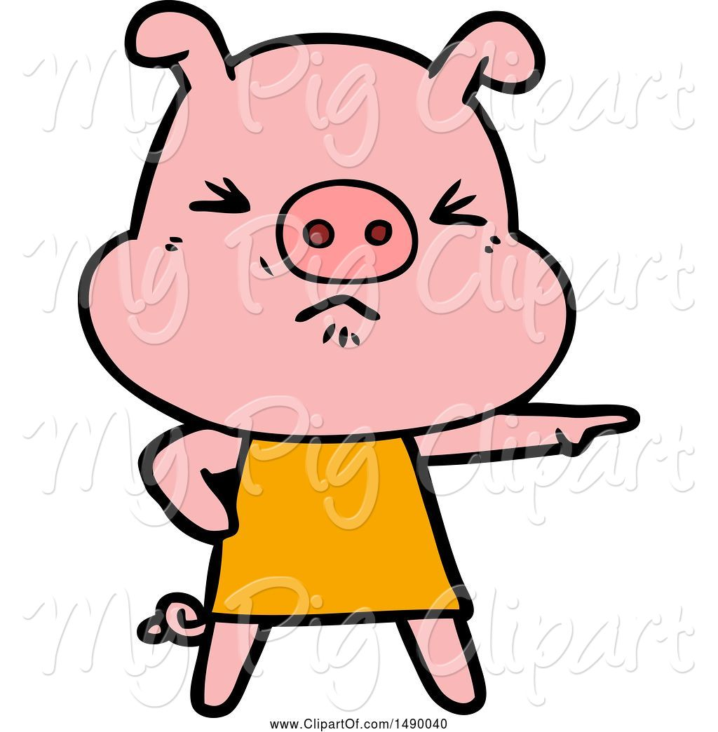 Pig angry. Swine clipart of by