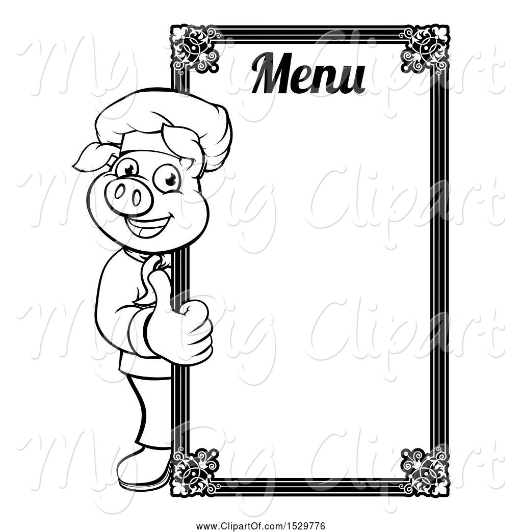 Swine Clipart Of Black And White Chef Pig Giving A Thumb Up Around A