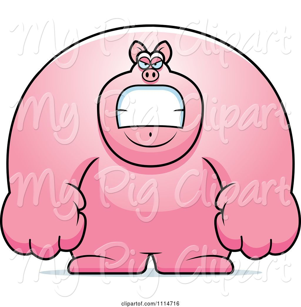 swine clipart of cartoon angry buff pig by cory thoman 3066