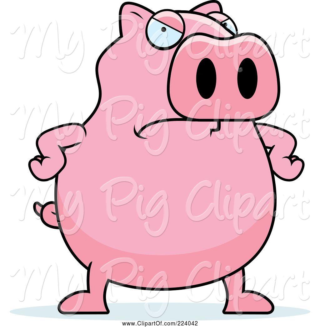 Pig angry. Swine clipart of cartoon