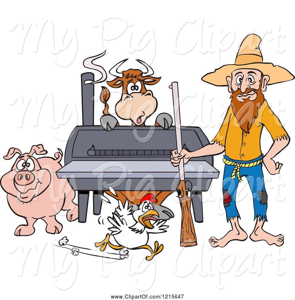 Swine Clipart of Cartoon Hillbilly Guy with a Rifle