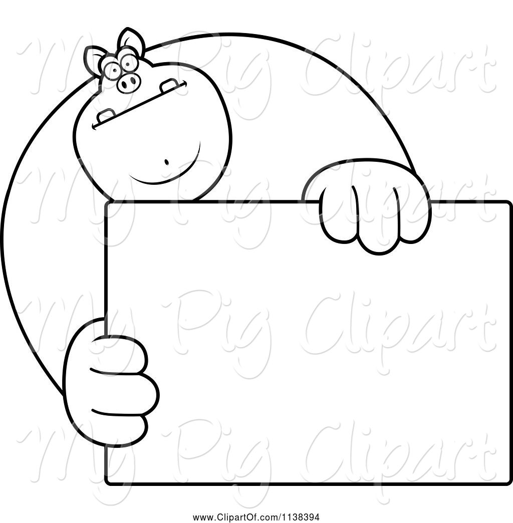 swine clipart of cartoon outlined buff pig holding a sign 1 by cory