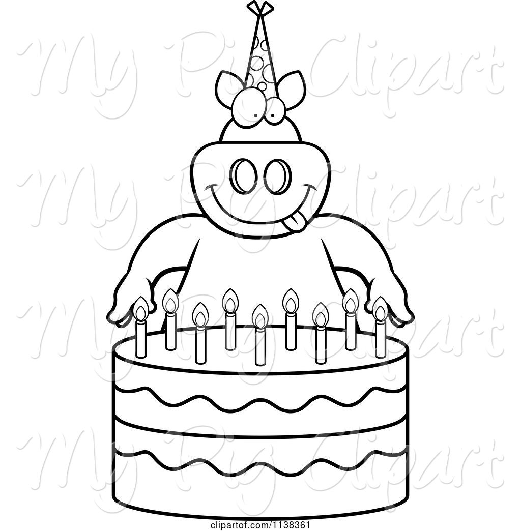 Swine Clipart Of Cartoon Outlined Pig Making A Wish Over Candles On