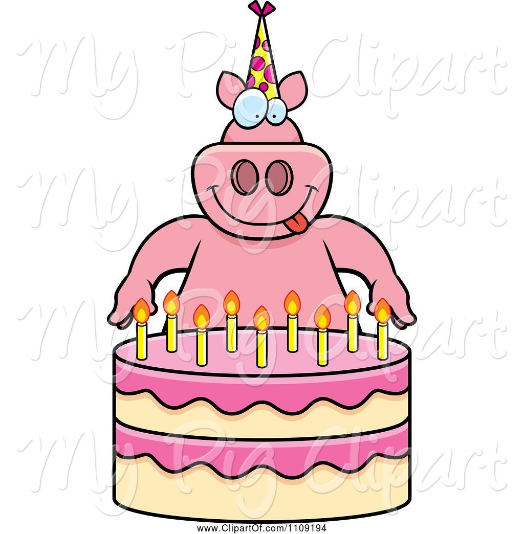 Swine Clipart Of Cartoon Pig Making A Wish Over Candles On A