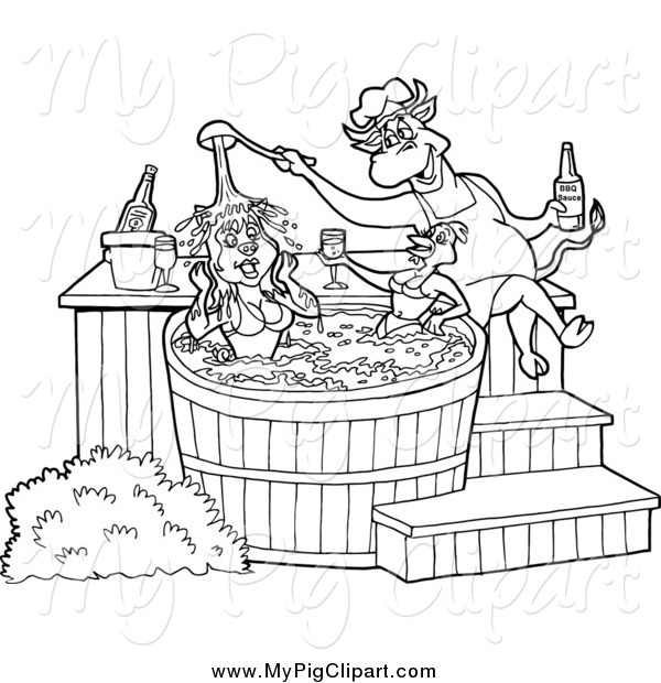 swine clipart of a black and white chef bull pouring bbq