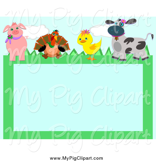 Swine Clipart of a Pig Turkey Duckling and Cow Frame by bpearth - #912