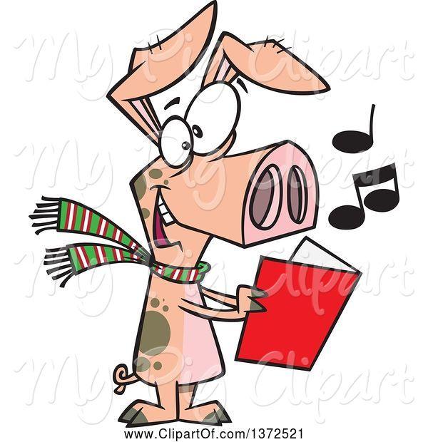 Christmas Carols Clipart.Swine Clipart Of Cartoon Festive Pig Singing Christmas