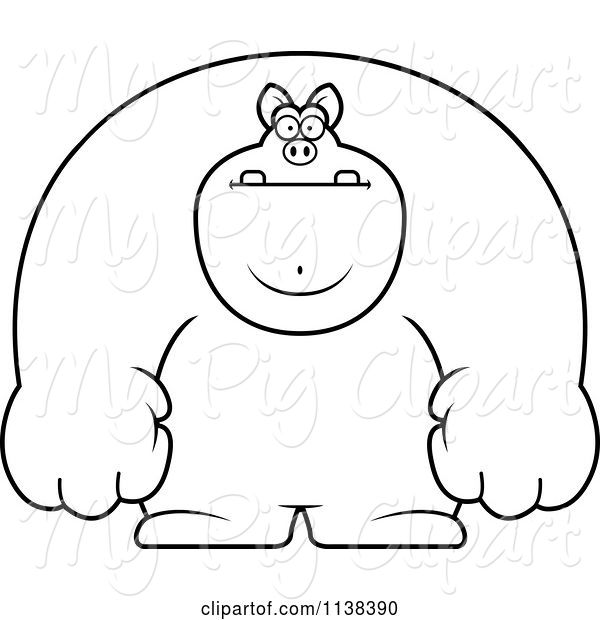 swine clipart of cartoon outlined buff pig by cory thoman 3126