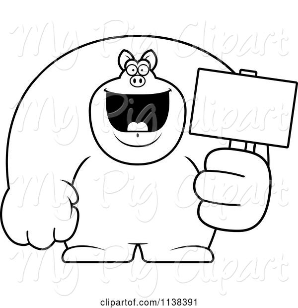 swine clipart of cartoon outlined buff pig holding a sign 2 by cory